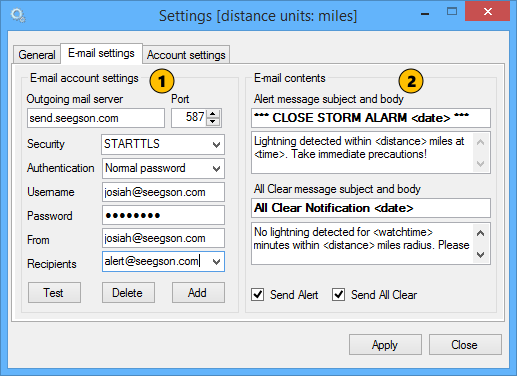 Settings - Email settings - Astrogenic Online Help